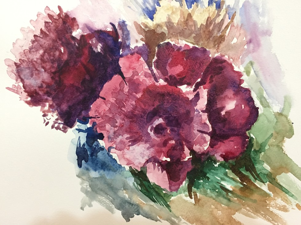 Dubai Artsbasis Flower WaterColor Painting Mahdi Bashash
