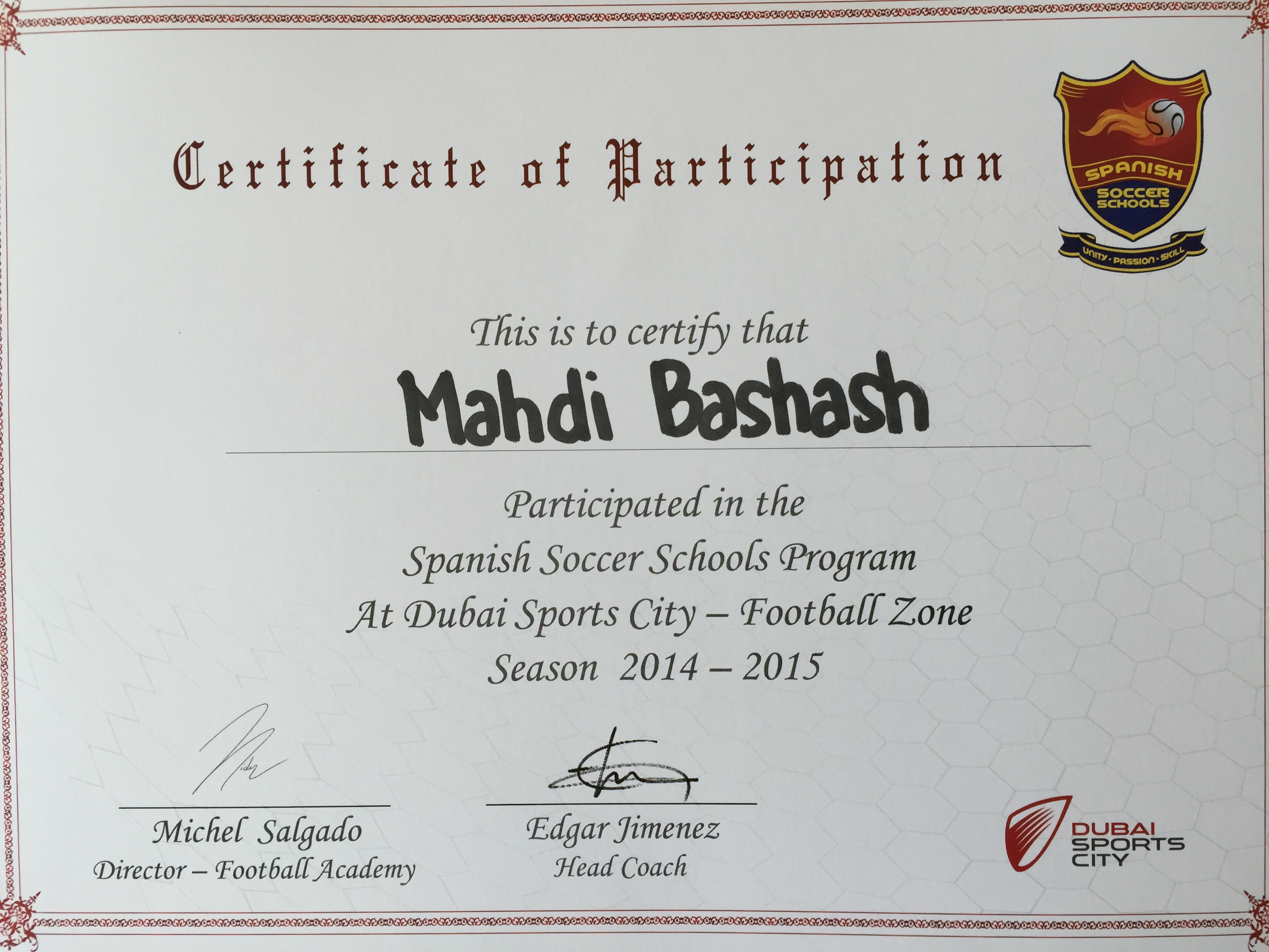 Spanish Soccer Schools Certification Dubai