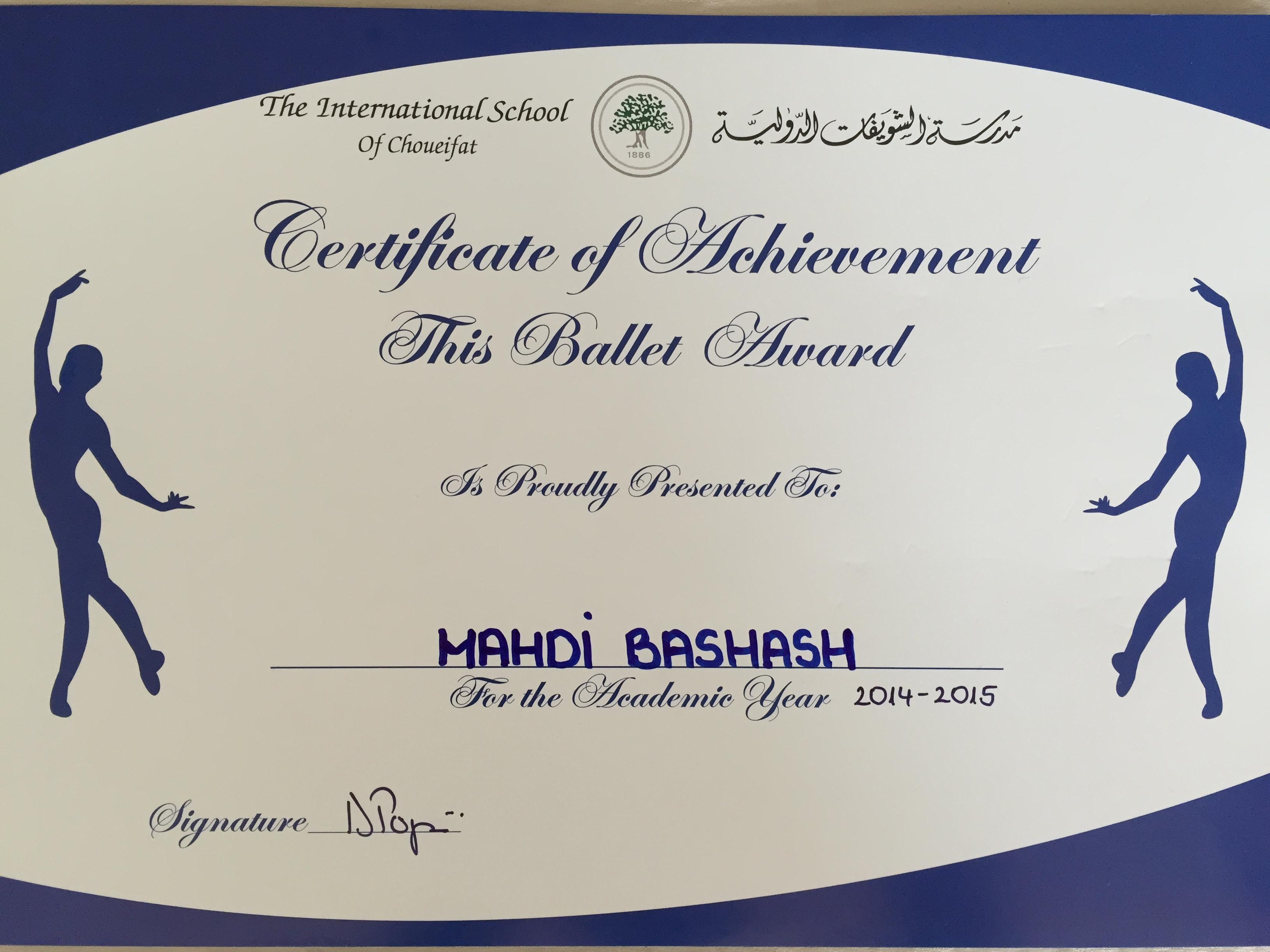 Mahdi Bashash ballet award 2014-2015