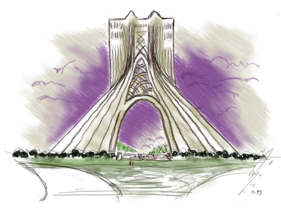 Azadi Square Sketch Tehran Iran
