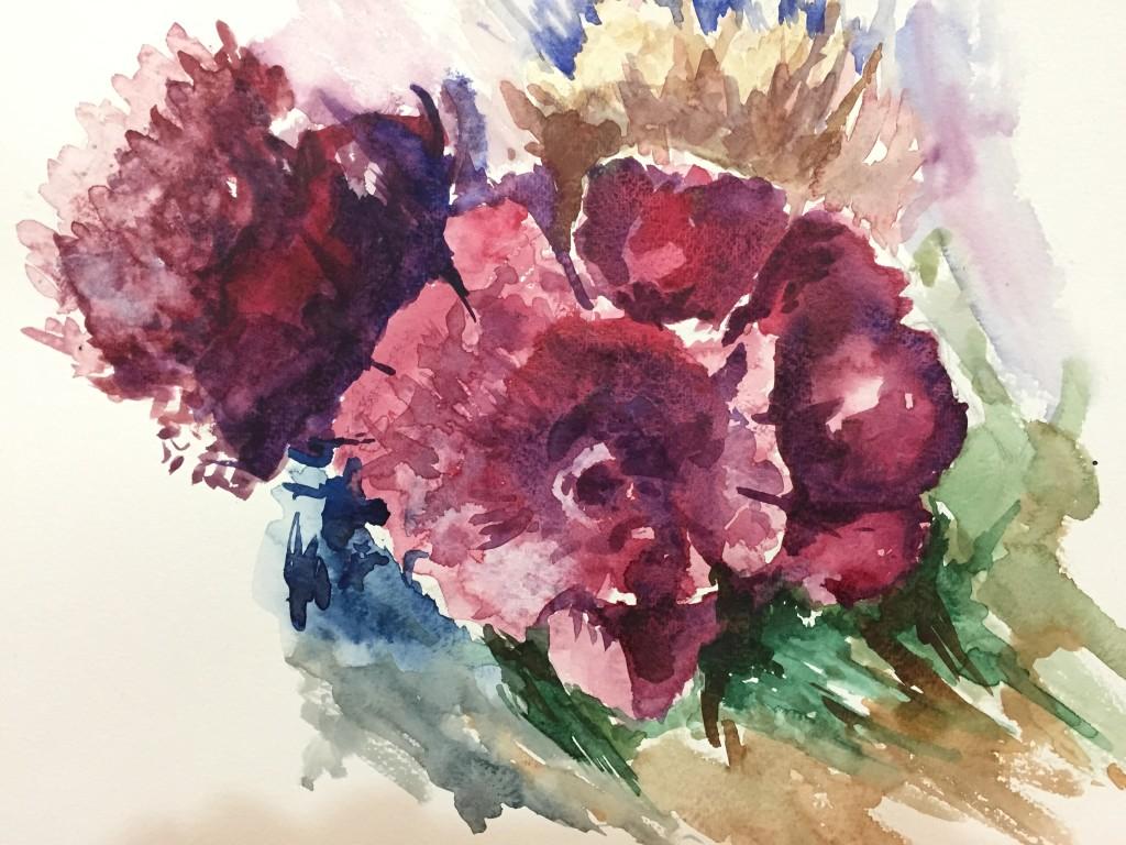Dubai Artsbasis Flower WaterColor Painting Mahdi Bashash
